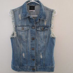 BDG Women's Distressed Jean Vest  - M